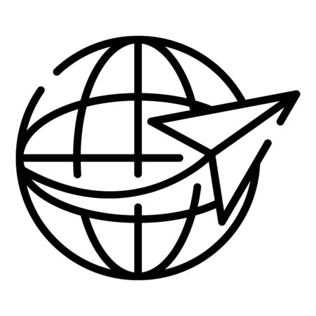 Global excursion icon, outline style