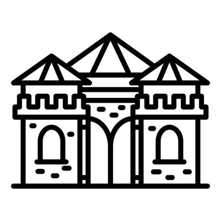 Castle excursion icon, outline style Illusztráció