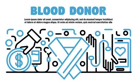 Blood donor banner, outline style