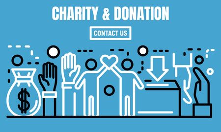 Charity and donation banner, outline style