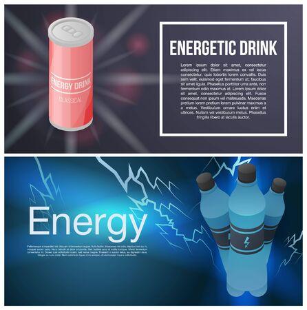 Energetic drink banner set, isometric style Ilustração