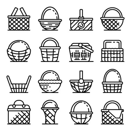 Wicker icons set. Outline set of wicker vector icons for web design isolated on white background Ilustração