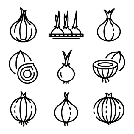 Onion icons set, outline style