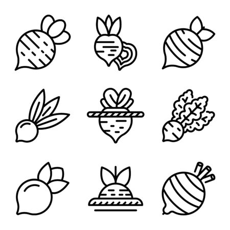 Beet icons set. Outline set of beet vector icons for web design isolated on white background Illusztráció