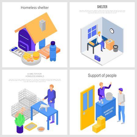 Homeless shelter charity banner set, isometric style Illustration