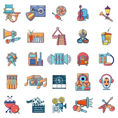 Media recreation icons set. Cartoon set of 25 media recreation vector icons for web isolated on white background