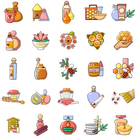 Honey icons set. Cartoon set of 25 honey vector icons for web isolated on white background Illustration