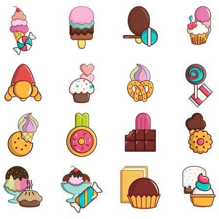 Sweet tooth icons set. Cartoon set of 16 sweet tooth vector icons for web isolated on white background Illustration