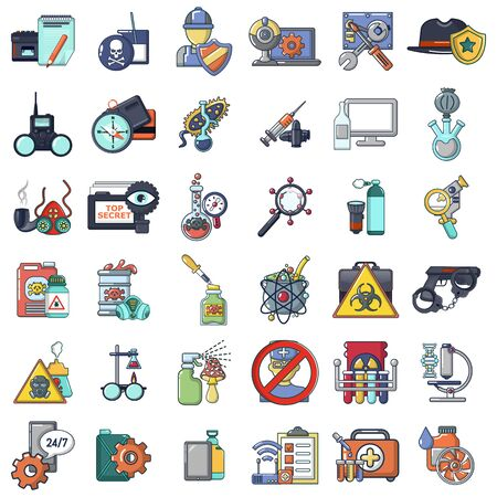 Spying poison icons set. Cartoon set of 36 spying poison vector icons for web isolated on white background