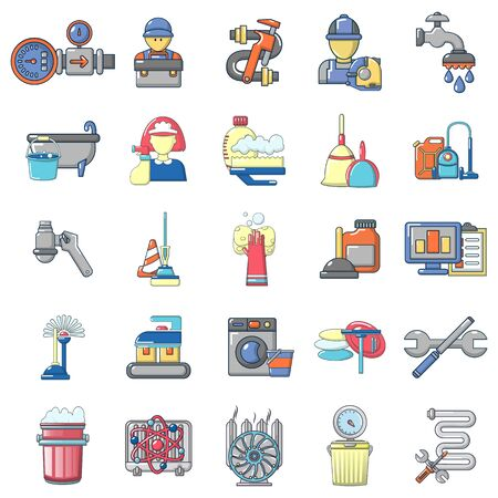 Plumbing icons set. Cartoon set of 25 plumbing vector icons for web isolated on white background