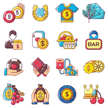 Easy money icons set. Cartoon set of 16 easy money vector icons for web isolated on white background
