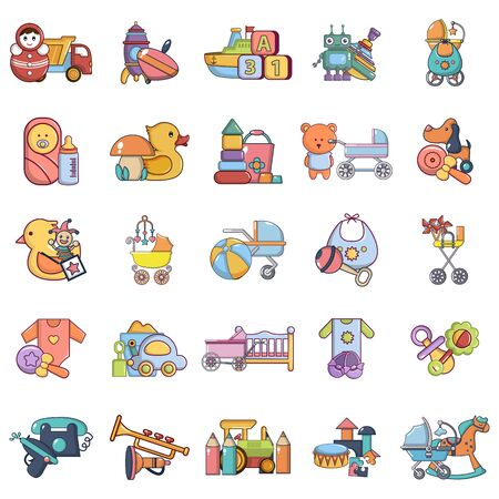 Play area icons set. Cartoon set of 25 play area vector icons for web isolated on white background Ilustração