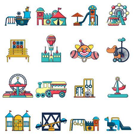 Children playground icons set. Cartoon set of 16 children playground vector icons for web isolated on white background