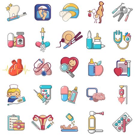General medical icons set, cartoon style