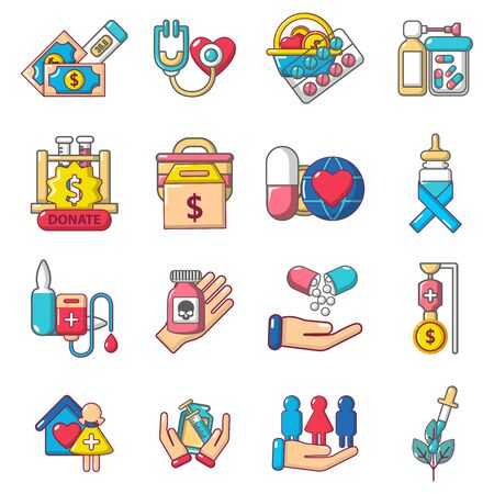 Therapeutic icons set. Cartoon set of 16 therapeutic vector icons for web isolated on white background