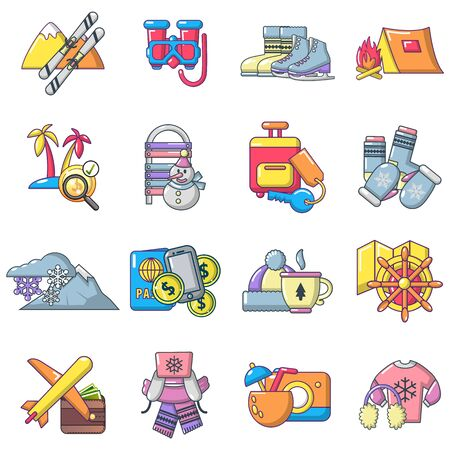 Recreational activity icons set. Cartoon set of 16 recreational activity vector icons for web isolated on white background