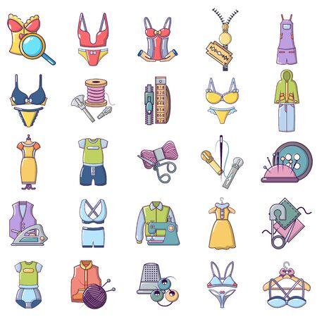 Needlework icons set. Cartoon set of 25 needlework vector icons for web isolated on white background