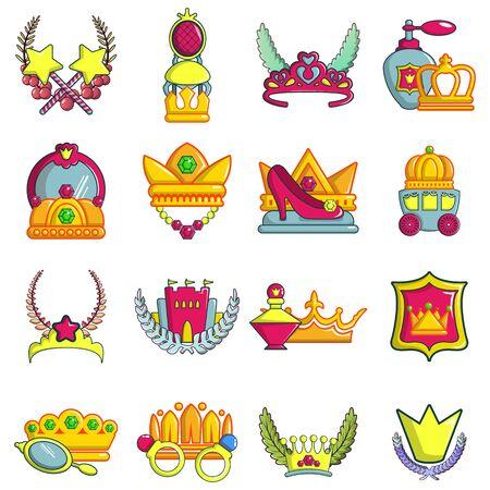 Princess icons set, cartoon style
