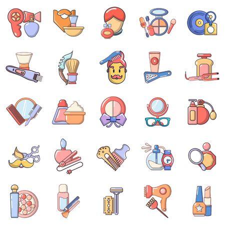 Barbershop icons set, cartoon style Ilustração