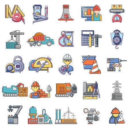 Construction business icons set, cartoon style Ilustração