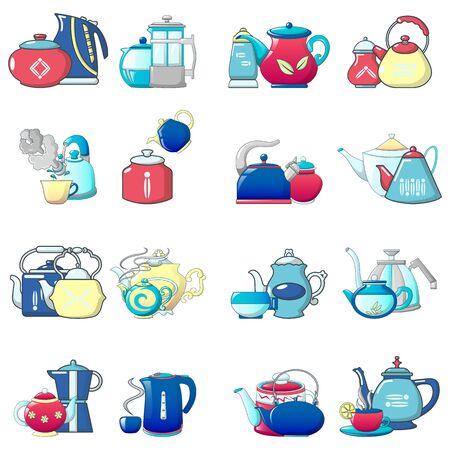 Tea icons set, cartoon style Ilustração