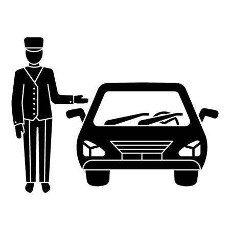 Hotel car valet icon, simple style