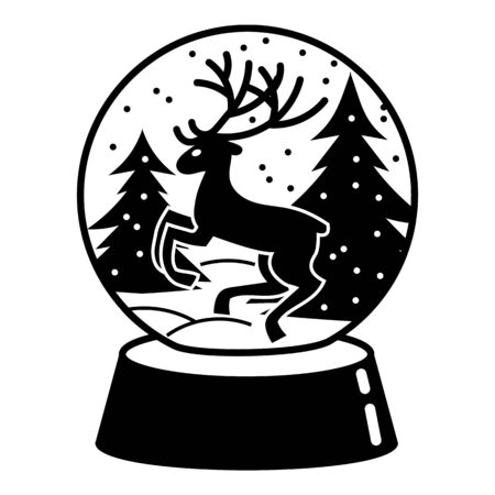 Snow globe deer icon, simple style