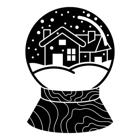 Snow globe house icon, simple style