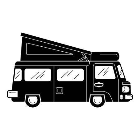 Caravan icon, simple style Illustration