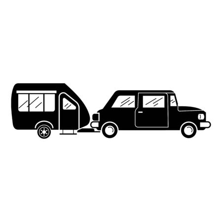Caravan trailer icon, simple style