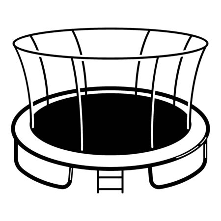 Protected trampoline icon, simple style