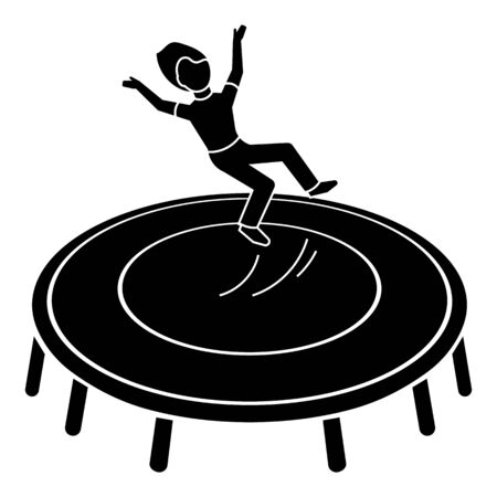Kid on trampoline icon. Simple illustration of kid on trampoline vector icon for web design isolated on white background Stock Illustratie