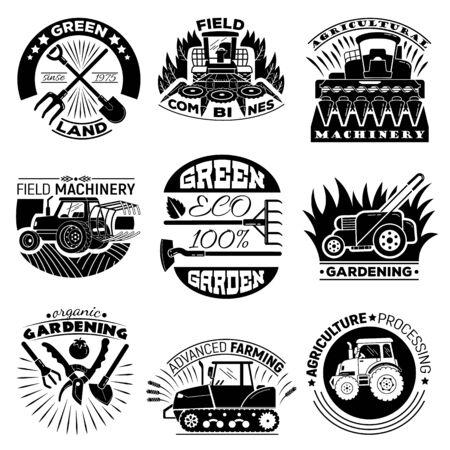 Conjunto de iconos de equipos agrícolas, estilo simple