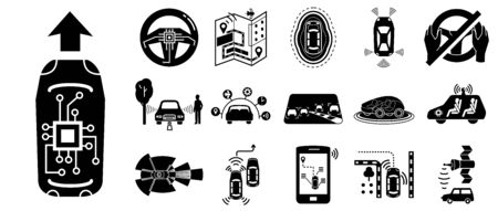 Driverless car icons set, simple style