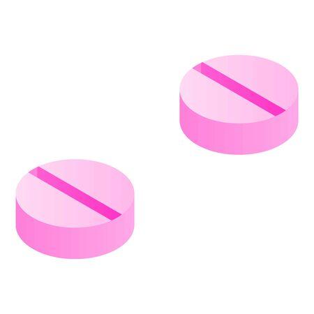 Pink pills icon, isometric style Иллюстрация