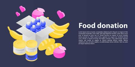 Food donation concept banner. Isometric illustration of food donation vector concept banner for web design