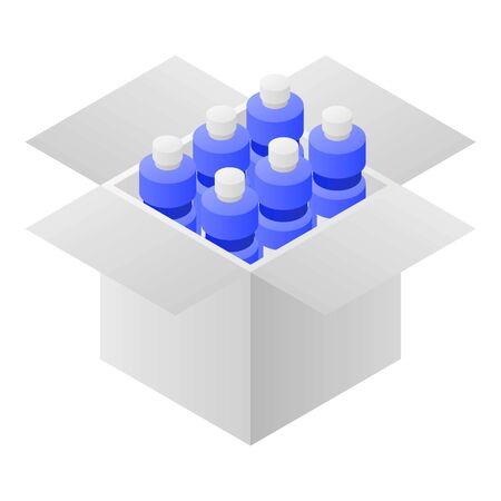 Water bottle box icon, isometric style Ilustracja