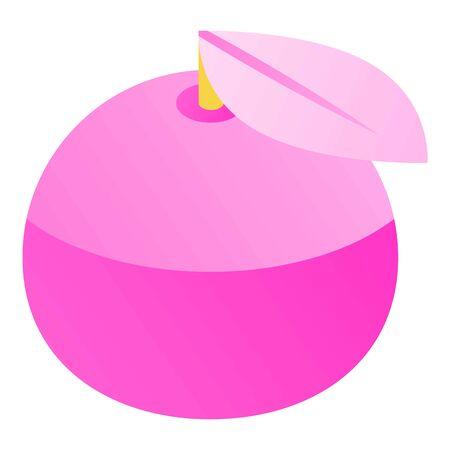 Pink apple icon, isometric style