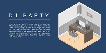 Dj party concept banner. Isometric illustration of dj party vector concept banner for web design 일러스트