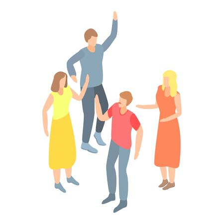 Dancing people group icon, isometric style Illustration