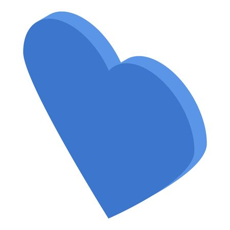 Blue heart icon. Isometric of blue heart vector icon for web design isolated on white background  イラスト・ベクター素材