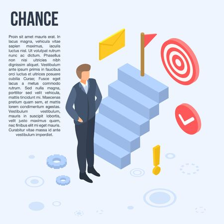 Business chance concept banner, isometric style Vectores