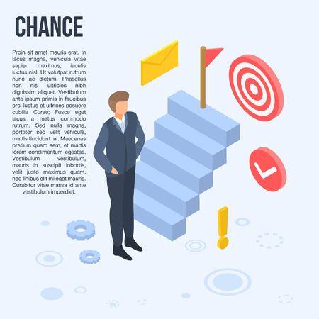 Business chance concept banner, isometric style Ilustração