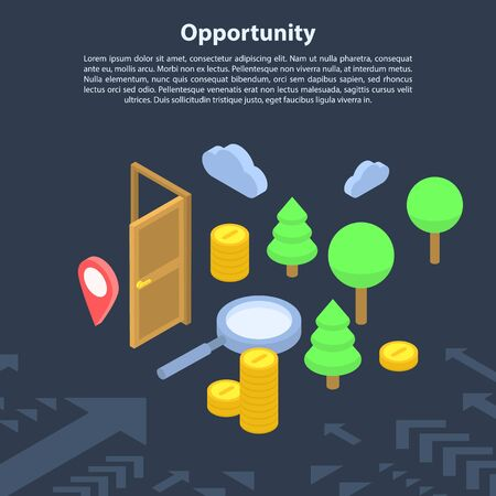 Opportunity concept banner, isometric style