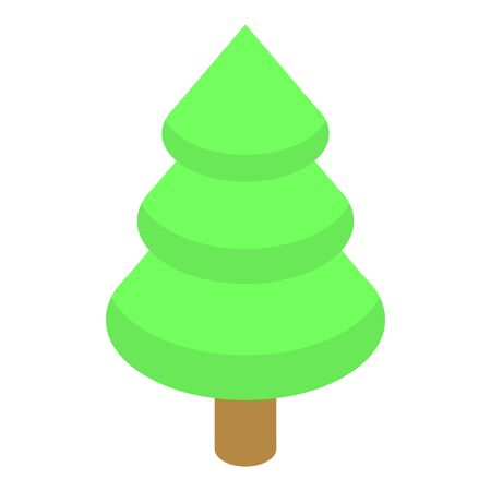 Green fir tree icon, isometric style
