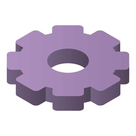 Gear system icon, isometric style