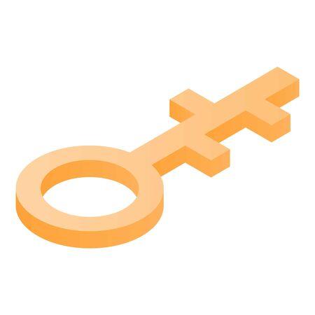 Gold key icon, isometric style Ilustração