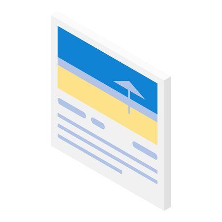 Travel card icon, isometric style