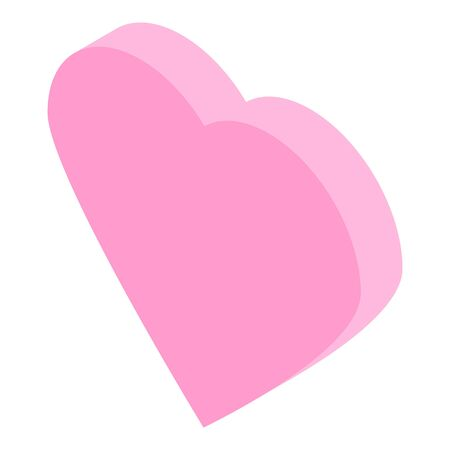 Pink heart icon, isometric style