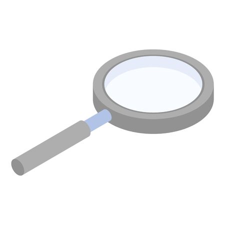 Plastic magnify glass icon, isometric style